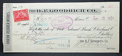 US Check State National Bank B.F. Goodrich Akron Documentary Stamp 1901 (H-6757+
