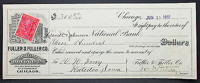 US Check Leavitt & Johnson National Bank Fuller Druggists Chicago 1901 (H-6784+