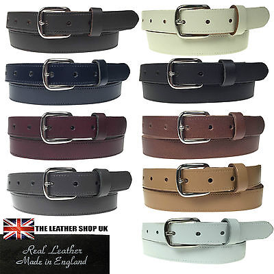 "New Quality Mens Womens 1"" Silver Buckle Real Leather Made 25mm Belt In England"
