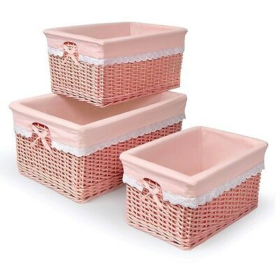 Kids Toy Storage Bins Nursery Wicker Set of 3 Pink Girls Clothing Baby Hampers