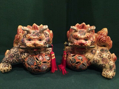 Temple Guardian Foo Fu Dog Hand Painted Pair of Ceramic Statues old Asian