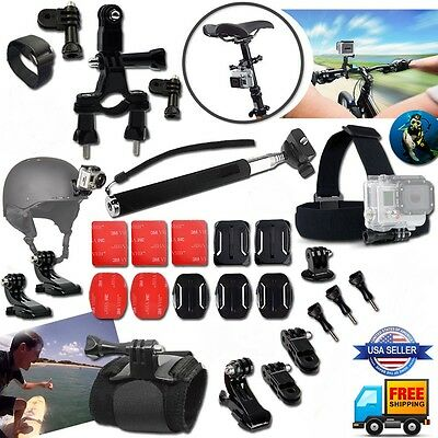 For GoPro Hero 2 3 4 5 Camera 30 PCS. Head Chest Mount Monopod Accessories Kit