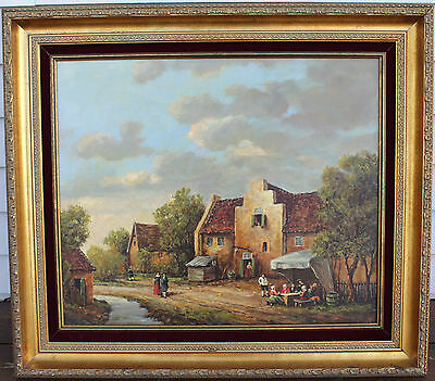 Vintage Oil Painting On Canvas - Villagers Drinking & Socializing - Signed