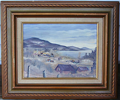 Framed Oil On Canvas Painting - Seaside Village - Signed Boudreau - Circa 1984