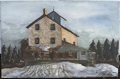 "Vintage Oil Painting On Canvas - Winter Home Landscape - Signed ""Britton"""