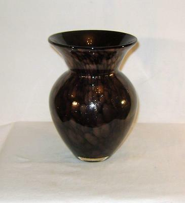 Vintage Studio Glass Vase: Black with Copper Metallic Dust Cased in Clear