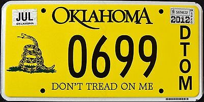 "OKLAHOMA "" DON`T TREAD ON ME - SNAKE "" OK Graphic License Plate"