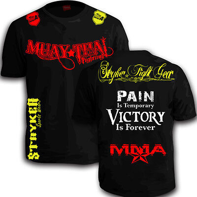 e4698ad0 Muay Thai Fighting Shorts Sleeve Shirt MMA UFC Boxing FREE Tapout Sticker  Tee w