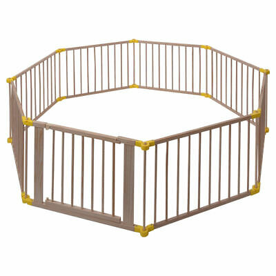 Baby Playpen 8 Panel Foldable Wooden Frame Kids Safety Play Fence In/Outdoor