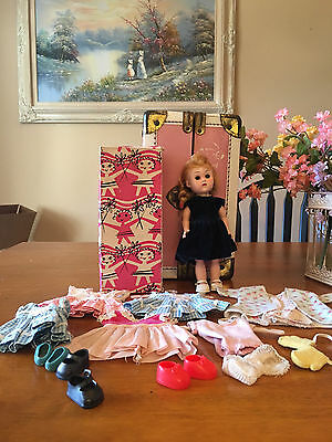 Vogue Bend Knee Walker Ginny Doll  Orig Box ,with Clothes, Shoes, & Case  1950's