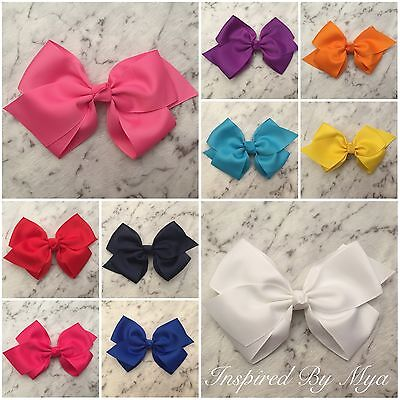 """Girls Bow Hair Clips Large Bow 6"""" Layered Big School Dance Party Accessories"""