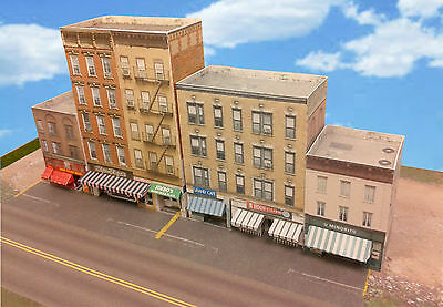 Z Scale Buildings - Downtown apartments with shops  Cardstock kit set CZ016