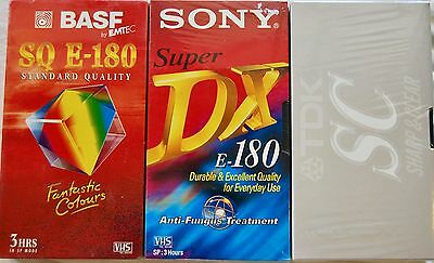 Set of 3 Blank VHS Tapes Sony/TDK/BASF - Each Brand New Factory Sealed