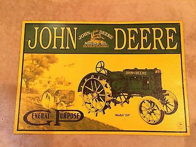 Vintage~JOHN DEERE~Model GP~TRACTOR~TIN~SIGN~16x11~Metal~USA~RARE~Decor~Retired