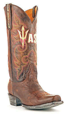 Gameday Boots Mens Brass Leather Arizona State Cowboy Boots (10) Azs-M145-1