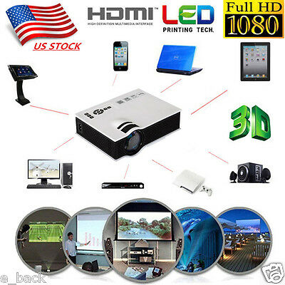 6000Lumens Full HD 1080P LED LCD VGA HDMI TV Home Theater Projector Cinema Y