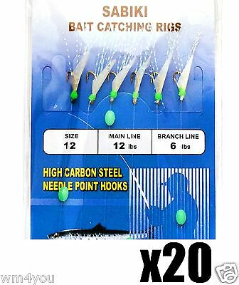 20packs Size 12 Fishing Sabiki Piscatore Gold 6Hook Rig Baits Fish Lures #12 New