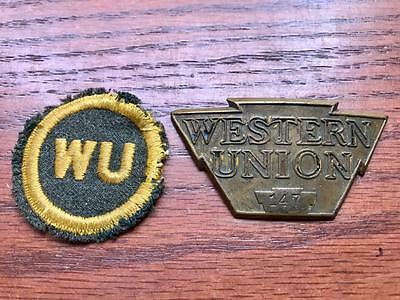 Western Union Brass Hat Badge+WU Patch Telegraph Employee Courier Uniform Cap