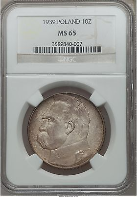 1939 Poland 10 Zlotych, NGC MS 65, 1 Finer @ NGC