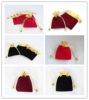50pcs Velvet jewellery gift bags pouch black/red/cherry red 7x9/9.5x12cm Wedding