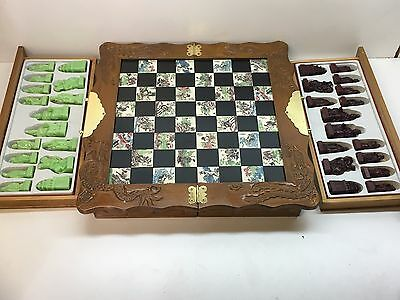 Chess Board Set with Chinese Style Green & Dark Red Figures and Design