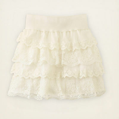 place girls tiered lace skirt w elastic waist
