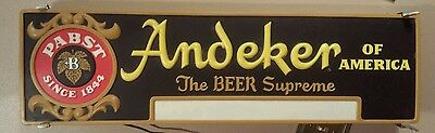 Vintage Pabst Andeker Beer Bar Light Lighted Sign Advertising Old Milwaukee