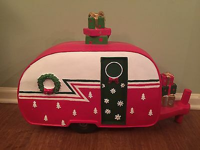 Tin Metal Retro Christmas Camper Lights Holiday Red RV Vacation Decor Large