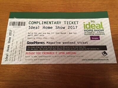 Ideal Home Show 2017 Ticket Interior Design 31 March 1 2 3 April Olympia LONDON