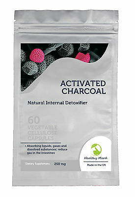 ACTIVATED Charcoal 250mg Carbon Coal Food Supplement 30/60/90/120/180 Capsules
