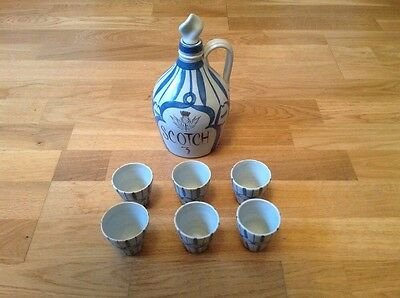 Buchan Stoneware 1 Scotch  ( Whisky ) Flagon with Stopper & 6 Small Beakers.