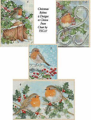 Cross Stitch Chart - Christmas Robin - 4 Designs to choose from TSG37 ....