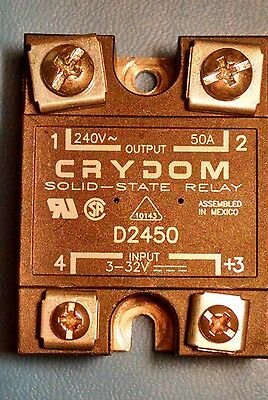 CRYDOM D2450 SOLID-STATE RELAY 240V, 50A. 3-32V Input