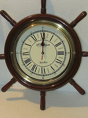 Ship's-Time-Wood-and-Brass-Ship-Wheel-Wall-Clock-16''