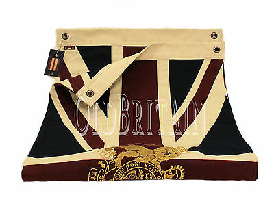 Union Jack Flag with Gold Royal Coat of Arms Embroidered Crest   Cotton