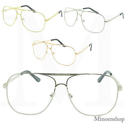 Fashion Square Oversized Classic Pilot Clear Lens Glasses VTG Men Womens Eyewear