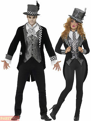 Delux Dark Mad Hatter Costume Mens Ladies Halloween Alice Couples Fancy Dress