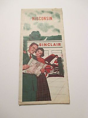Vintage 1950's SINCLAIR WISCONSIN Oil Gas Service Station Road Map