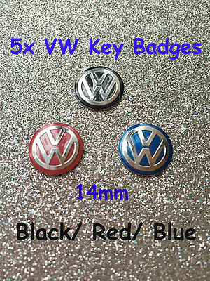 5 x VW Remote Key Fob Badge Emblem Sticker Logo Replacement 14mm