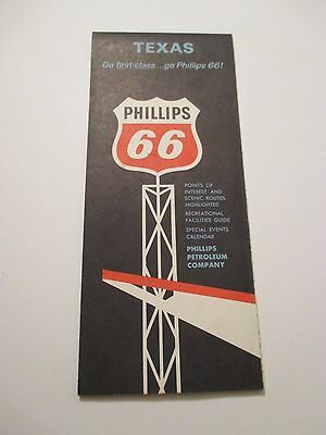 Vintage 1960's PHILLIPS 66 TEXAS Oil Gas Service Station Road Map