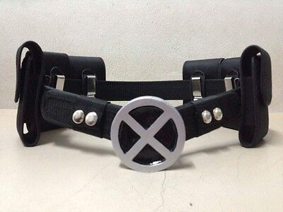 X-Men silver Costume Belt Buckle  with belt and 6 belt pouches.