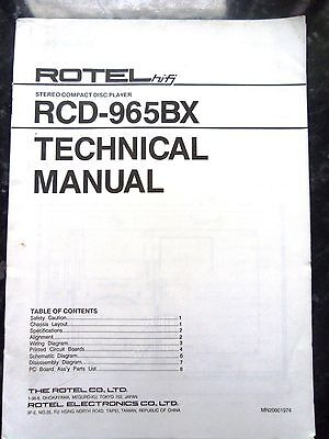 ROTEL TECHNICAL (service) MANUAL for RCD-965BX Compact Disc / CD Player