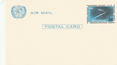 United Nations Airmail Postal Card Postcard FDC 6c blue space un-used