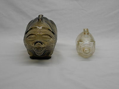 Vintage duo pair of Glass Piggy Banks Anchor Hocking Fire-King Clear + Amber VTG