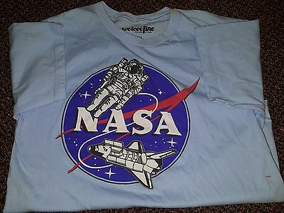 NASA Space Shuttle Space Walk Logo T-Shirt Youth XL Baby Blue 100% Cotton