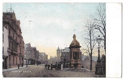 CRIEFF High Street, Postally Used Postcard 1907, National Series