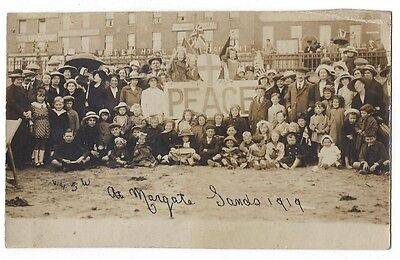 MARGATE Large Group of People on Beach with Peace Banner, RP Postcard 1919