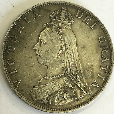 Antique 1887 Victoria Victorian Jubilee Head Silver Double Florin Coin #