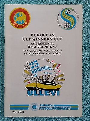 1983 - CUP WINNERS CUP FINAL PROGRAMME - ABERDEEN v REAL MADRID