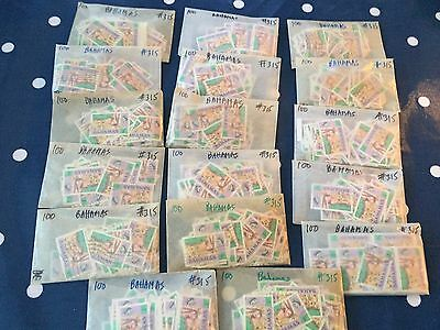 Bahamas approx 1700 stamps properly used in glassines bags for packet maker